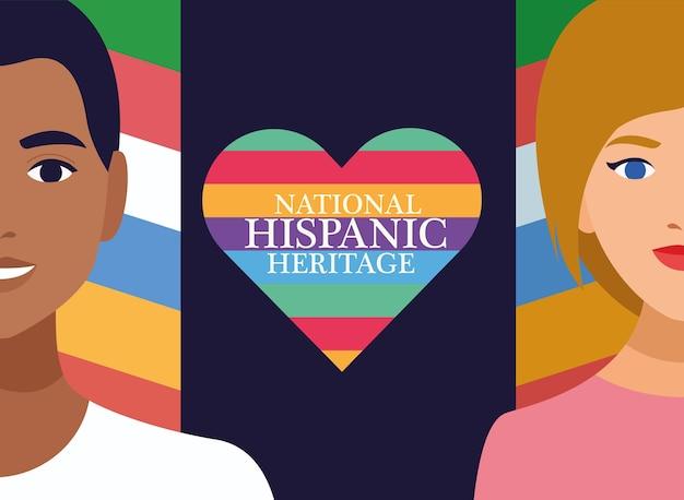 Celebração do patrimônio hispânico nacional com casal e letras no coração. Vetor Premium