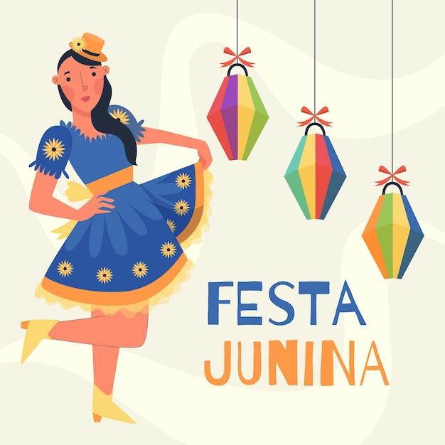 Celebração festa junina plana Vetor grátis