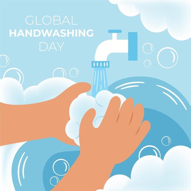 Celebração global do evento do dia da lavagem das mãos Vetor Premium