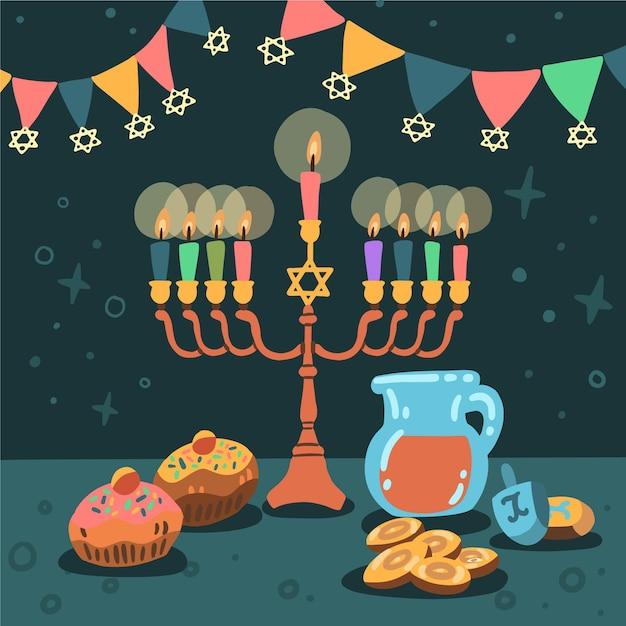 Celebração hanukkah desenhada à mão Vetor Premium