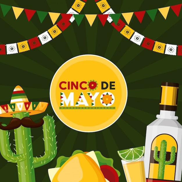 Celebração mexicana com tequila, comida, limão, cacto e outros ícones representativos do méxico Vetor grátis