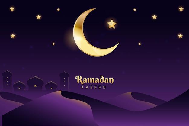 Celebração realista do ramadã Vetor Premium