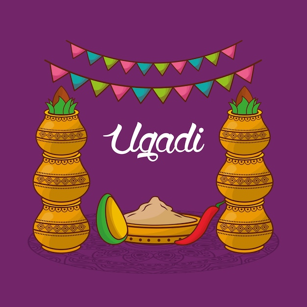 Celebração tradicional de ugadi, guirlanda decorativa de kalash Vetor Premium