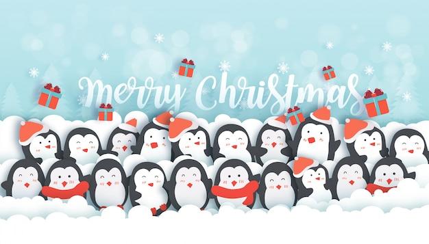 Celebrações de natal com pinguins fofos no banner da floresta de neve Vetor Premium