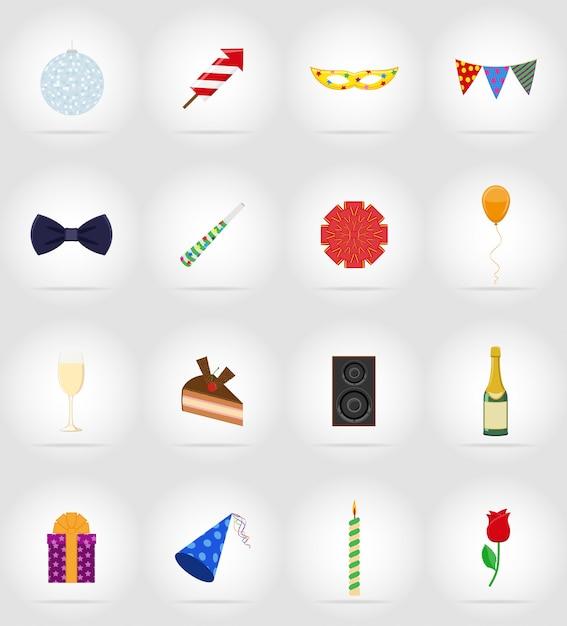Celebrações definir ilustração em vetor ícones plana Vetor Premium