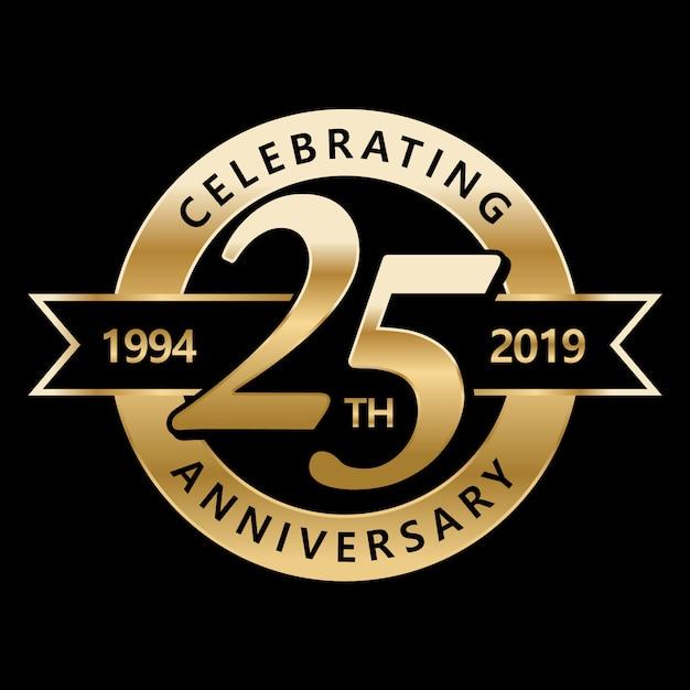Celebrando o 25º aniversário Vetor Premium