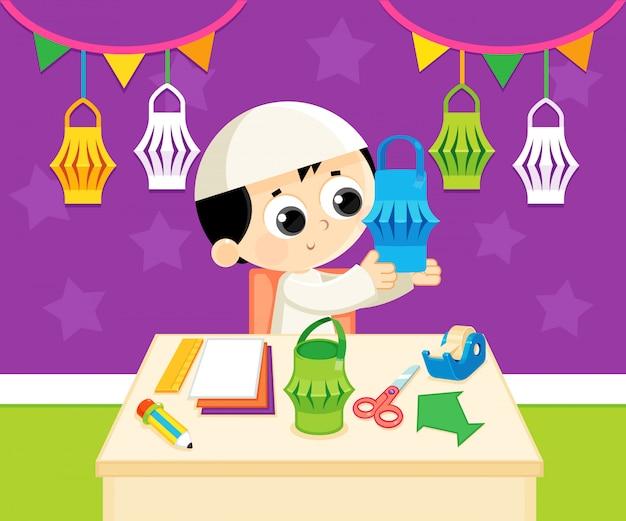 Celebrando o ramadã fazendo uma lanterna artesanal do ramadã com papéis coloridos Vetor Premium