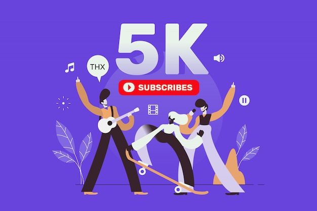 Celebrando os 5k inscritos nas mídias sociais dos seguidores página de destino Vetor Premium