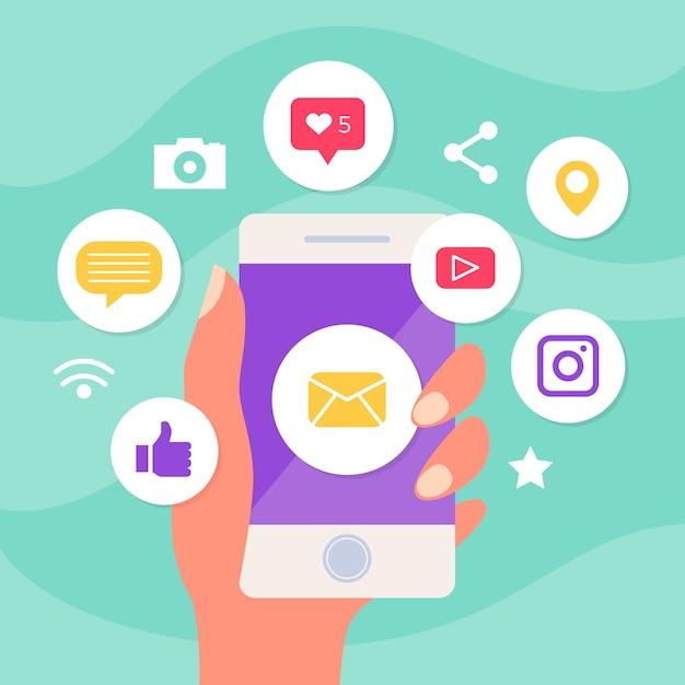 Celular de marketing com ícones de aplicativos Vetor grátis