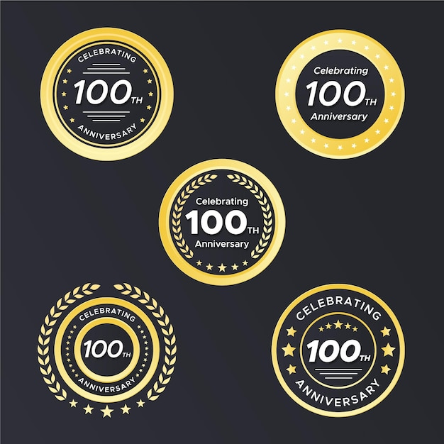 Cem emblemas de aniversário Vetor grátis