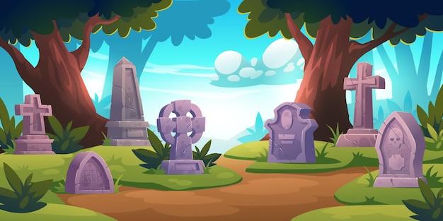 Cemitério, cemitério com lápides em uma floresta com árvores ao redor Vetor grátis