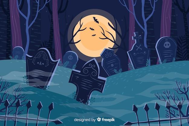Cemitério em um fundo de dia das bruxas lua cheia Vetor grátis