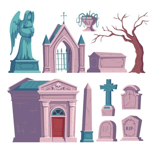 Cemitério, lápide com inscrição rip, ossuário Vetor grátis