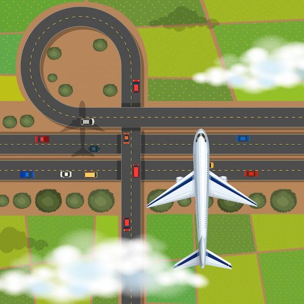 Cena aérea, com, avião, voando, em, a, céu Vetor grátis