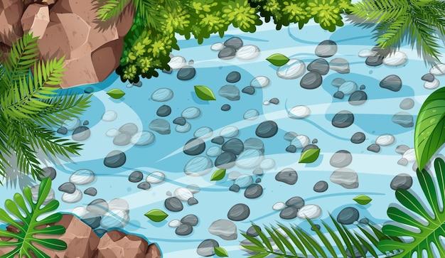 Cena aérea de floresta com pedras na lagoa Vetor grátis