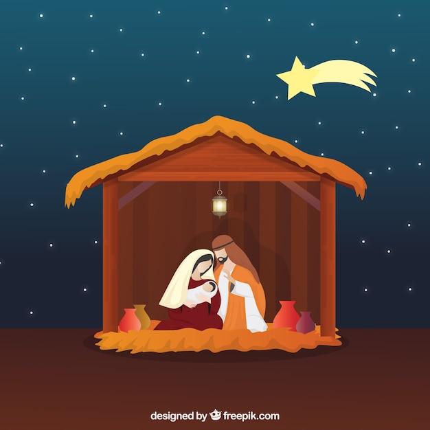 Cena bonita da natividade com estrela cadente Vetor grátis