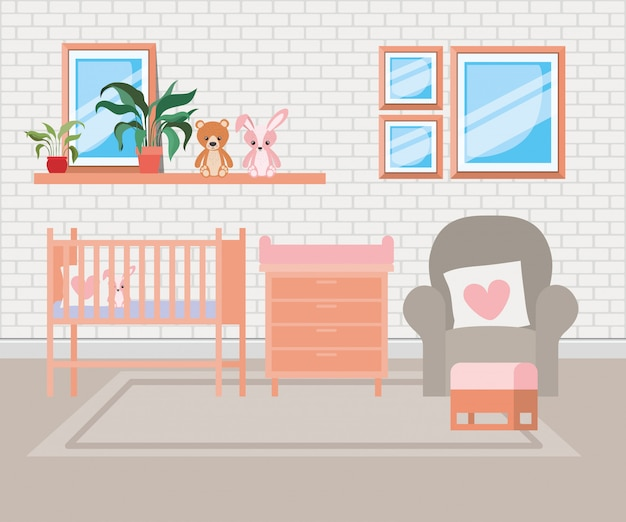 Cena bonita do quarto da cama do bebê Vetor grátis