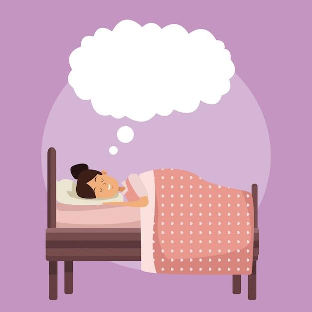Cena colorida, garota, dorme com um cobertor no quarto com uma frase da nuvem Vetor Premium