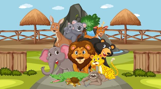 Cena com animais selvagens no zoológico durante o dia Vetor Premium