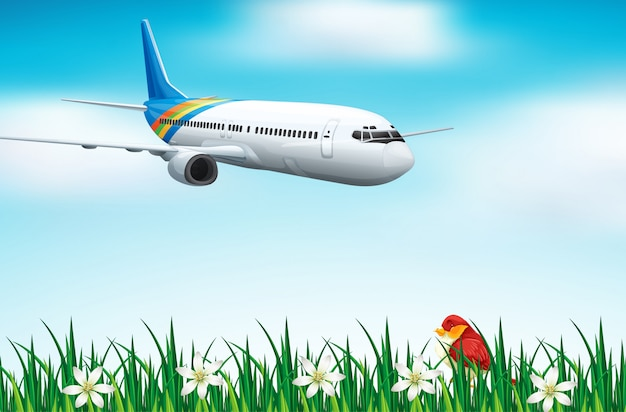 Cena com avião voando no céu azul Vetor grátis