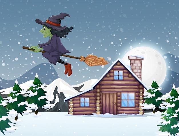 Cena com bruxa verde voando no inverno Vetor grátis