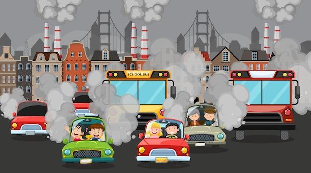 Cena com carros e edifícios da fábrica fazendo fumaça suja na cidade Vetor Premium
