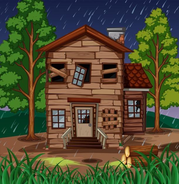 Cena com casa de madeira com janelas quebradas Vetor Premium