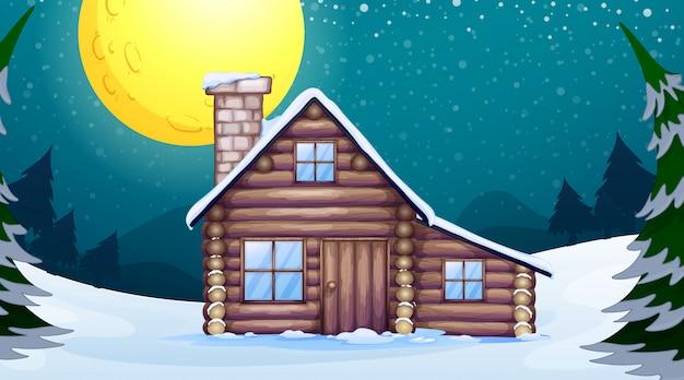 Cena com casa de madeira no inverno Vetor Premium
