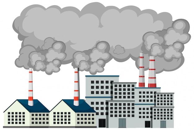 Cena com edifícios da fábrica e fumaça saindo Vetor Premium