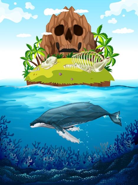 Cena, com, ilha, e, baleia, submarinas Vetor grátis