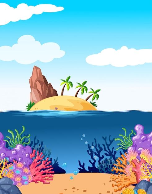 Cena, com, ilha, e, coral, submarinas Vetor grátis