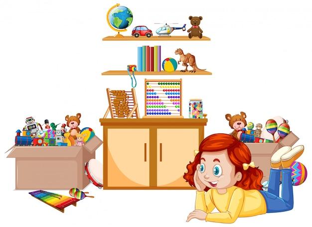 Cena com menina jogando brinquedos no quarto Vetor grátis