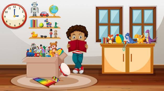 Cena com menino lendo livro no quarto Vetor grátis