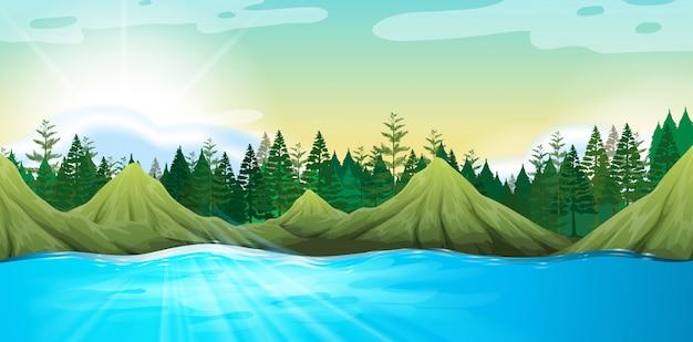 Cena, com, montanhas, e, pinheiros Vetor grátis