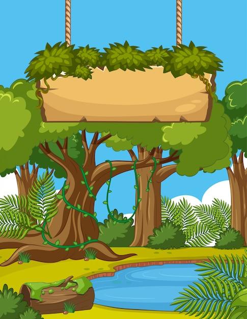 Cena com muitas árvores e sinal de madeira na floresta Vetor Premium