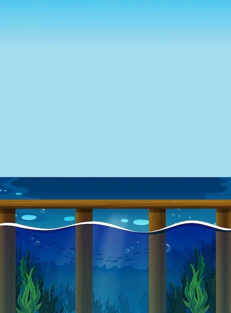 Cena com o oceano e debaixo d'água Vetor grátis