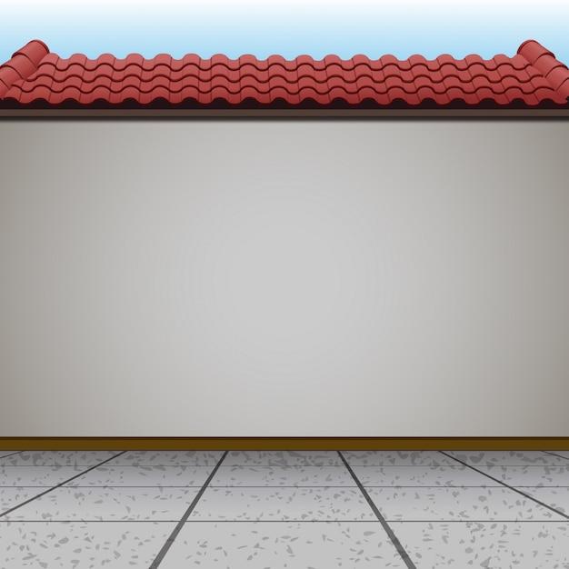 Cena com parede e telhado vermelho Vetor grátis