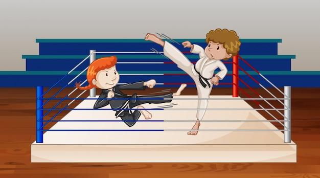 Cena com pessoas brigando na arena de ringue Vetor grátis