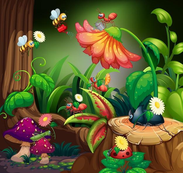 Cena com plantas e insetos no jardim Vetor grátis