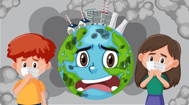 Cena com poluição na terra e crianças doentes usando máscara Vetor Premium