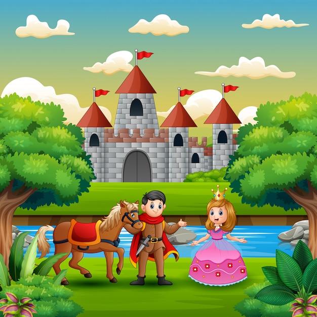 Cena, com, príncipe, e, princesa, borda, de, a, rio Vetor Premium