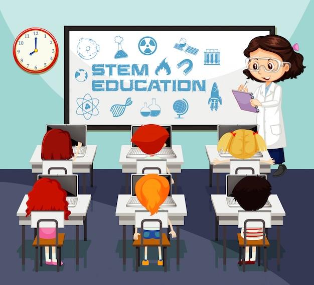Cena com professor e alunos na aula de ciências Vetor grátis