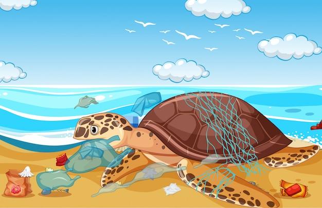 Cena com tartarugas marinhas e sacos de plástico na praia Vetor Premium