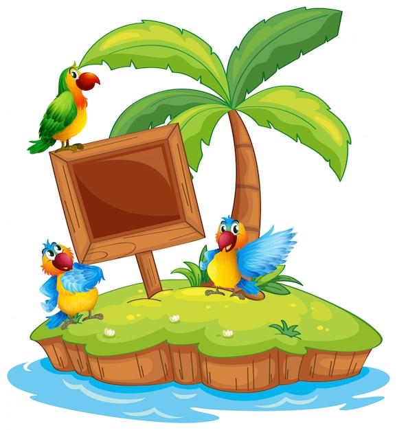 Cena, com, três, papagaios, ilha Vetor Premium