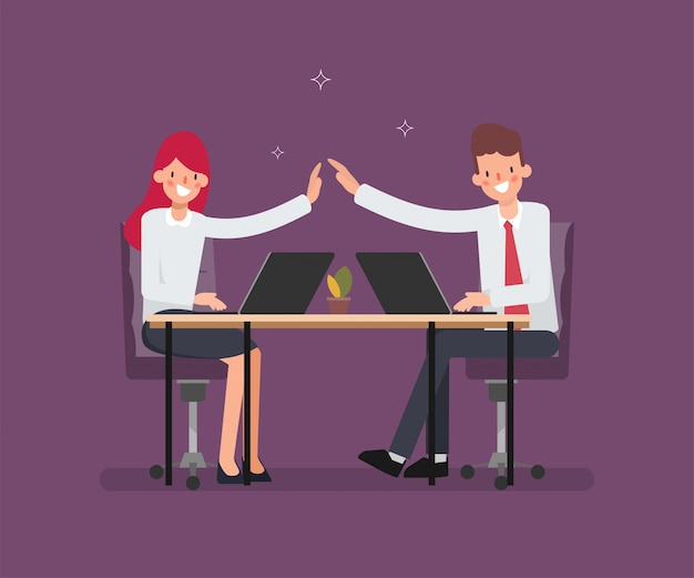 Cena da animação para executivos do colega no trabalho. Vetor Premium