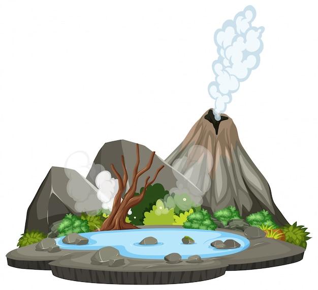 Cena da ilha natureza vulcão Vetor Premium