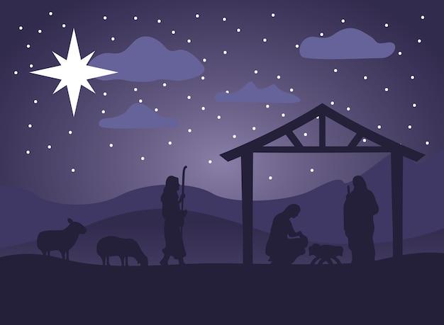 Cena da manjedoura de feliz natal feliz com a sagrada família na ilustração da noite do estábulo e animais Vetor Premium