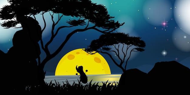 Cena da natureza à noite Vetor grátis