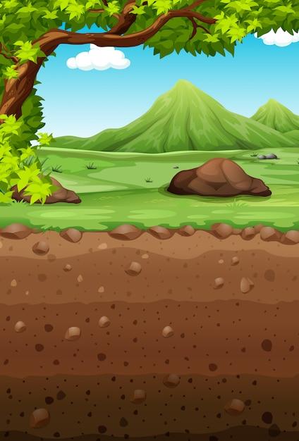 Cena da natureza com campo e subterrâneo Vetor grátis