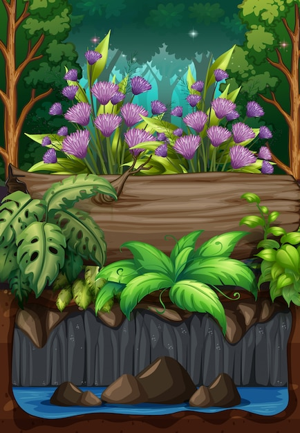 Cena da natureza com flores na floresta Vetor grátis